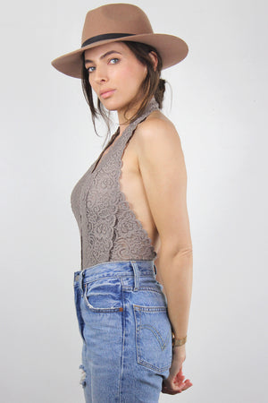 Backless lace bodysuit in Cocoa. Image 2