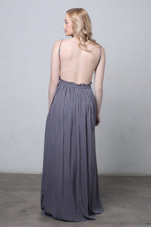 Lace bust maxi dress with open back in Midnight-3.