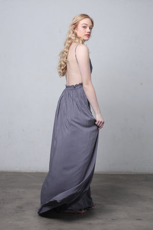 Lace bust maxi dress with open back in Midnight-1.