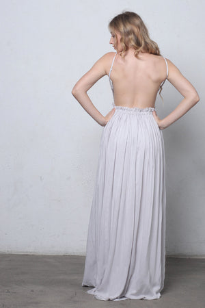 Lace bust maxi dress with open back in Silver-3