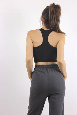 Black racer back sports bra.