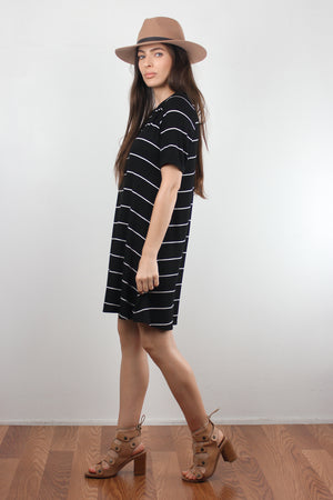 Black and white striped dress with lace up back. Image 3