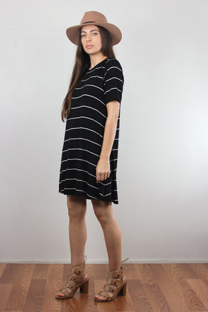 Black and white striped dress with lace up back. Image 4