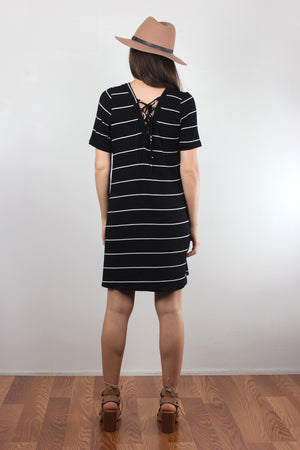Black and white striped dress with lace up back. Image 6