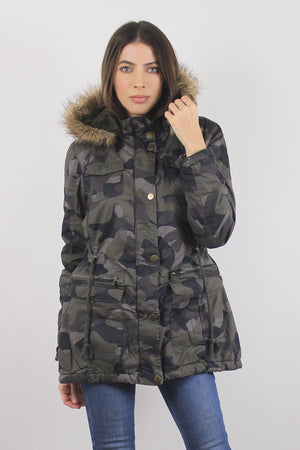 Camouflage coat with cargo pockets and fur hood.