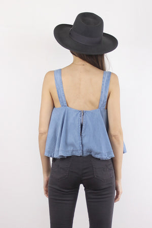Chambray tank top with built in bra. Image 7