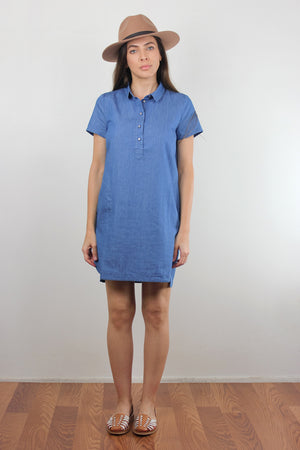 Chambray denim button front shirt dress. Image 3
