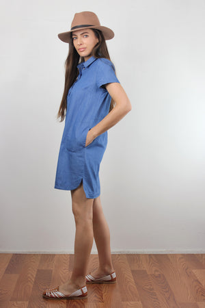 Chambray denim button front shirt dress. Image 4
