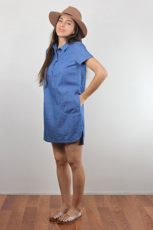 Chambray denim button front shirt dress. Image 5