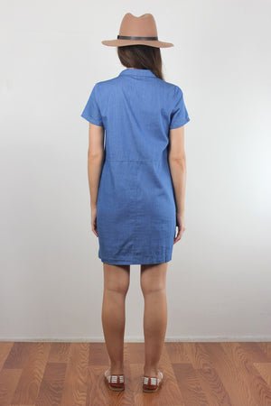 Chambray denim button front shirt dress. Image 6
