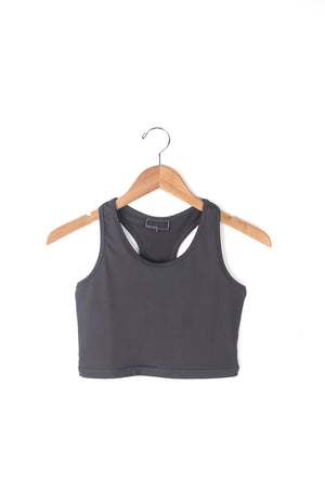 Charcoal Grey racer back sports bra top.