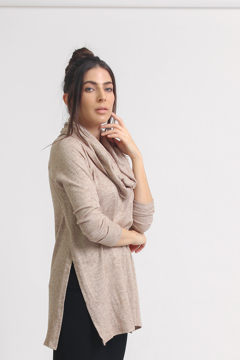 Cowl neck sweater with side slits, in Beige.
