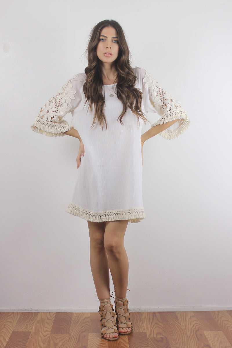 Crochet sleeve dress with fringe detail-4