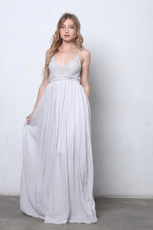 Lace bust maxi dress with open back in Silver.