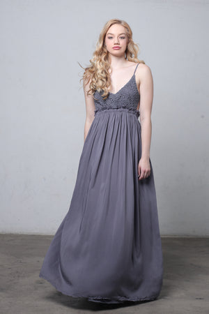 Lace bust maxi dress with open back in Midnight.