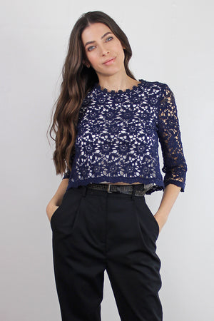 Cropped lace blouse, in Navy. Image 5
