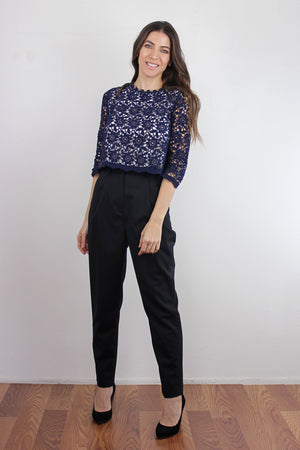 Cropped lace blouse, in Navy. Image 2