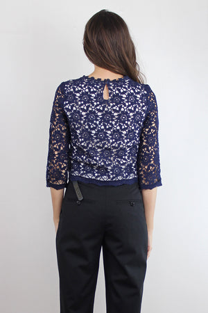 Cropped lace blouse, in Navy. Image 3