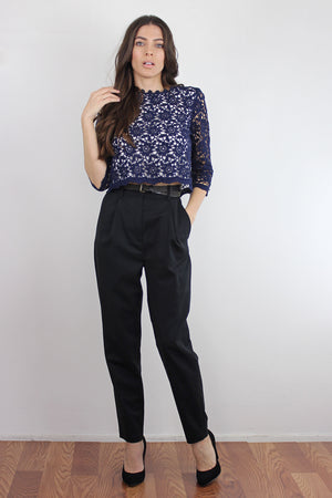 Cropped lace blouse, in Navy. Image 4