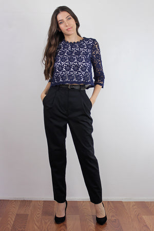 Cropped lace blouse, in Navy.