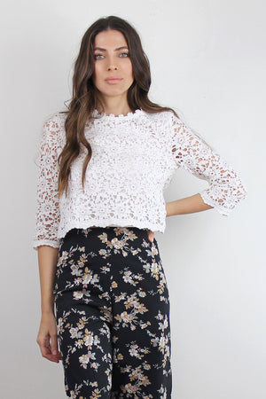 Cropped lace blouse, in White. Image 2