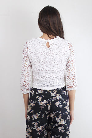 Cropped lace blouse, in White.