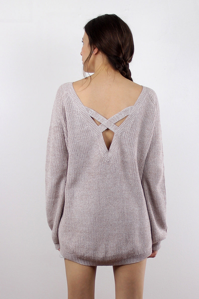 Sweater with criss cross v dipped back, in Sand.