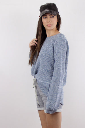 Sweater with criss cross v dipped back, in Blue. Image 3
