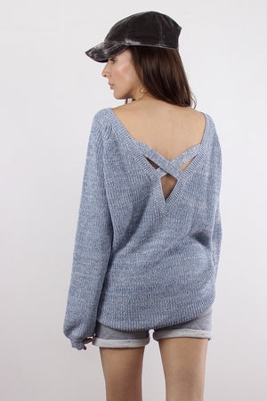 Sweater with criss cross v dipped back, in Blue. Image 5