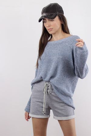 Sweater with criss cross v dipped back, in Blue.