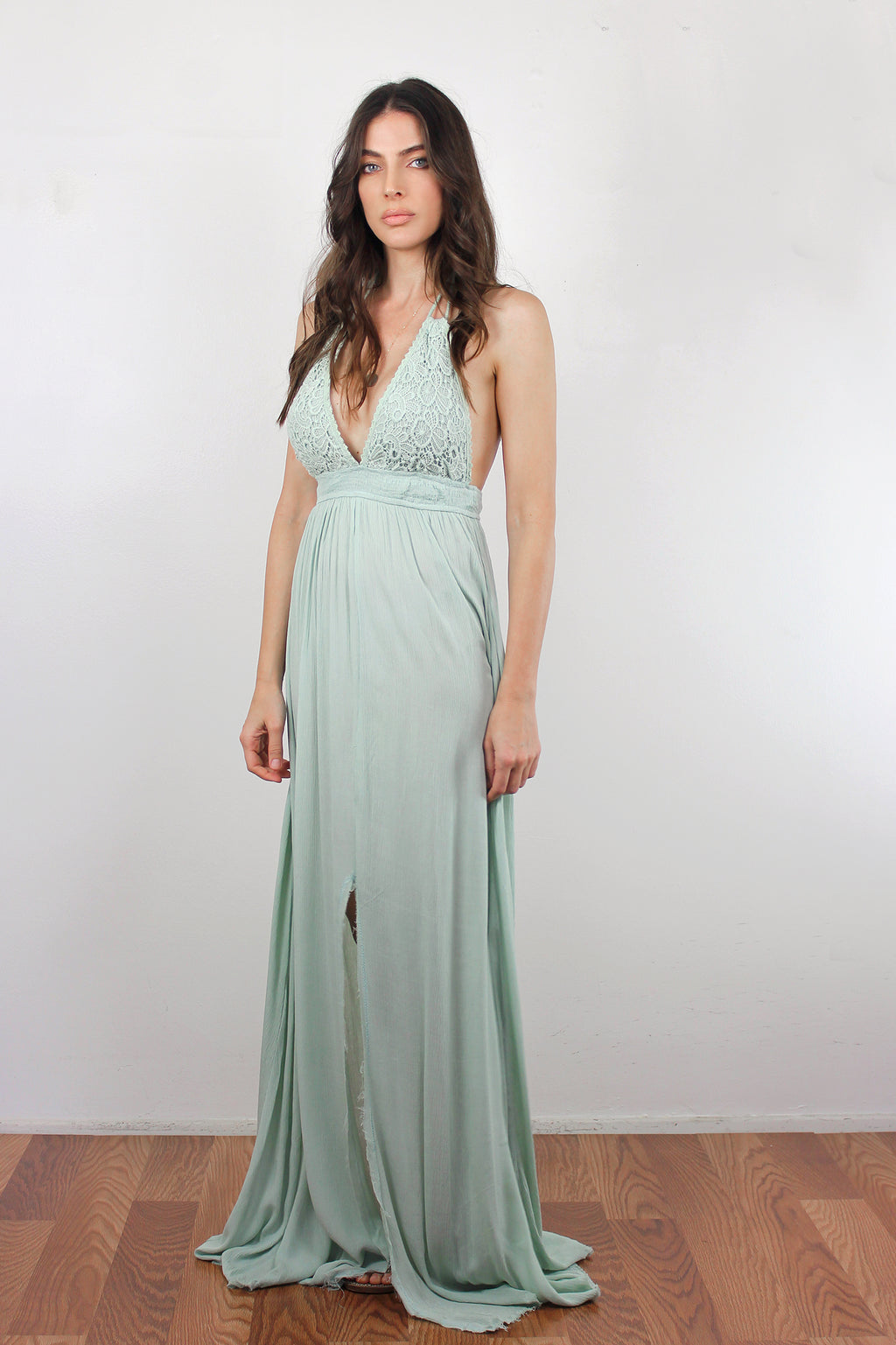 Crochet detail maxi dress in Seafoam Green. Image 4