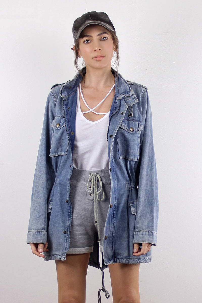 Denim jacket with cargo pockets.