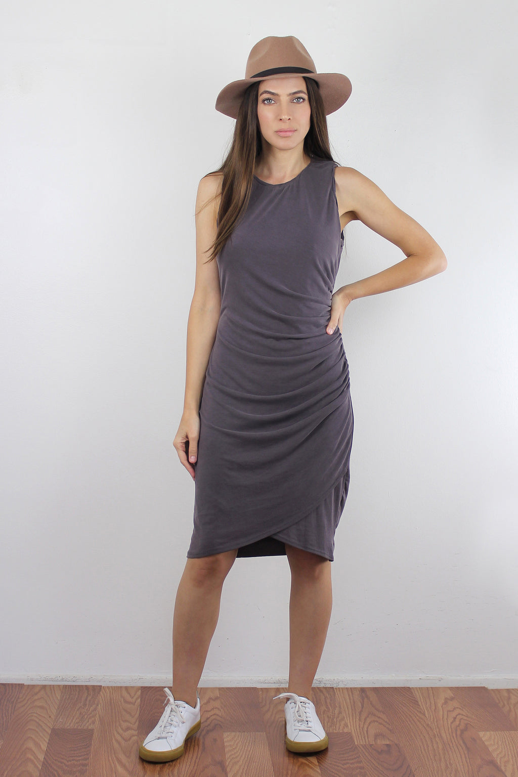 Ruched dress in Dusty Mocha.