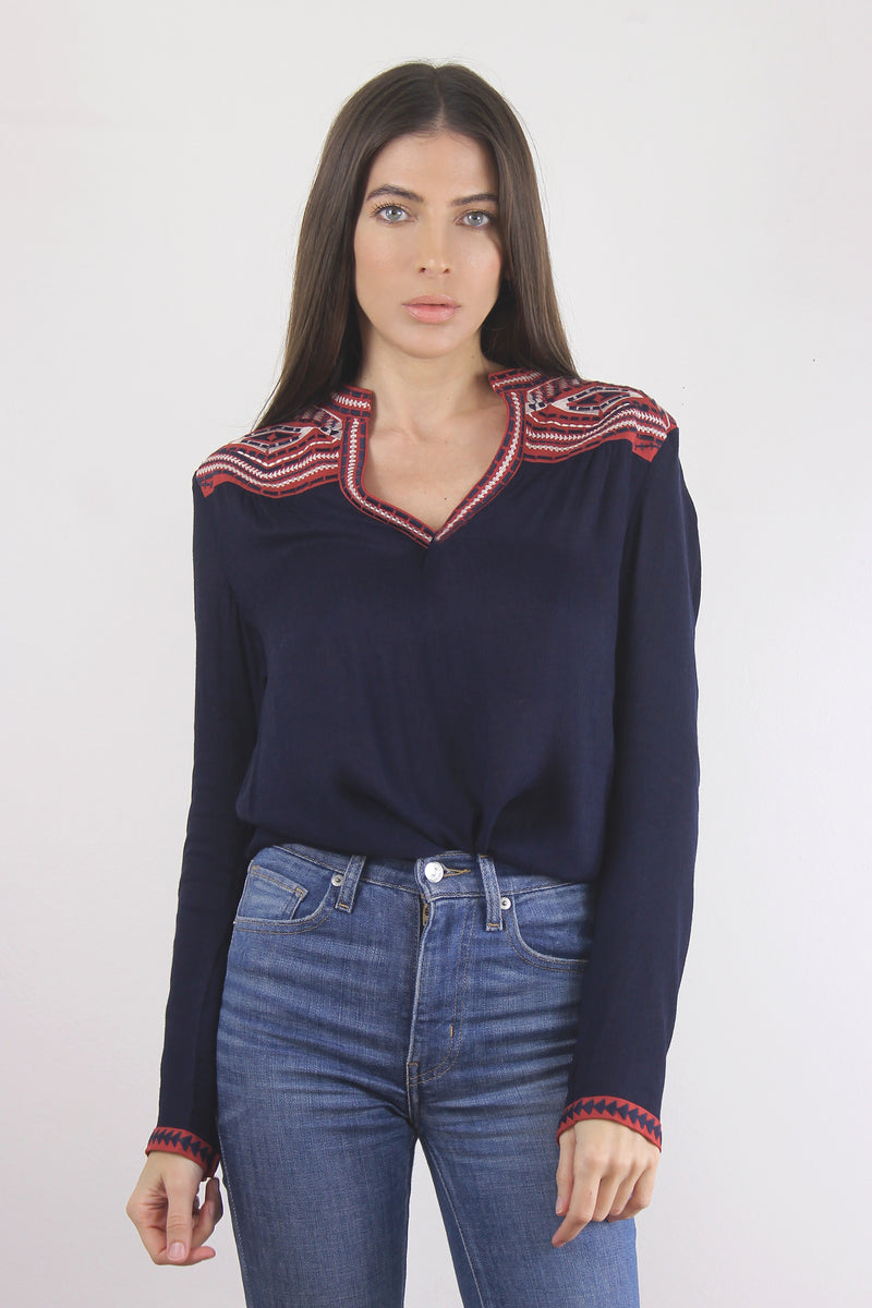 Embroidered blouse, Navy.