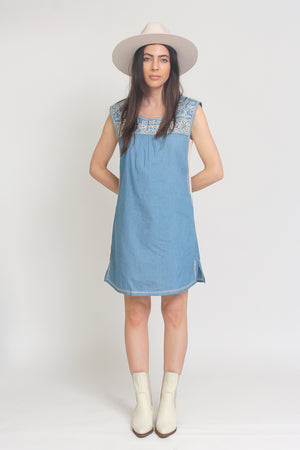Embroidered chambray denim mini dress. Image 10