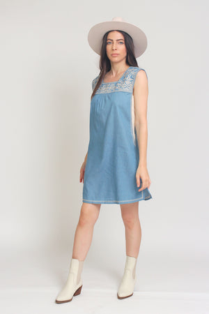 Embroidered chambray denim mini dress. Image 11