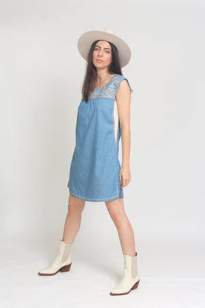 Embroidered chambray denim mini dress. Image 2
