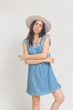 Embroidered chambray denim mini dress. Image 4