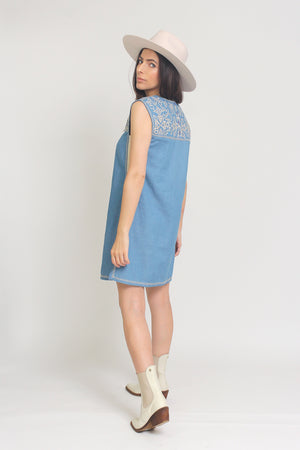 Embroidered chambray denim mini dress. Image 5