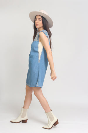 Embroidered chambray denim mini dress. Image 6