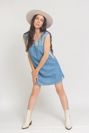 Embroidered chambray denim mini dress. Image 7