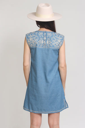 Embroidered chambray denim mini dress. Image 8