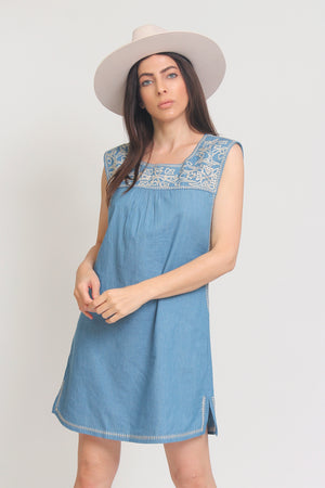 Embroidered chambray denim mini dress. Image 9