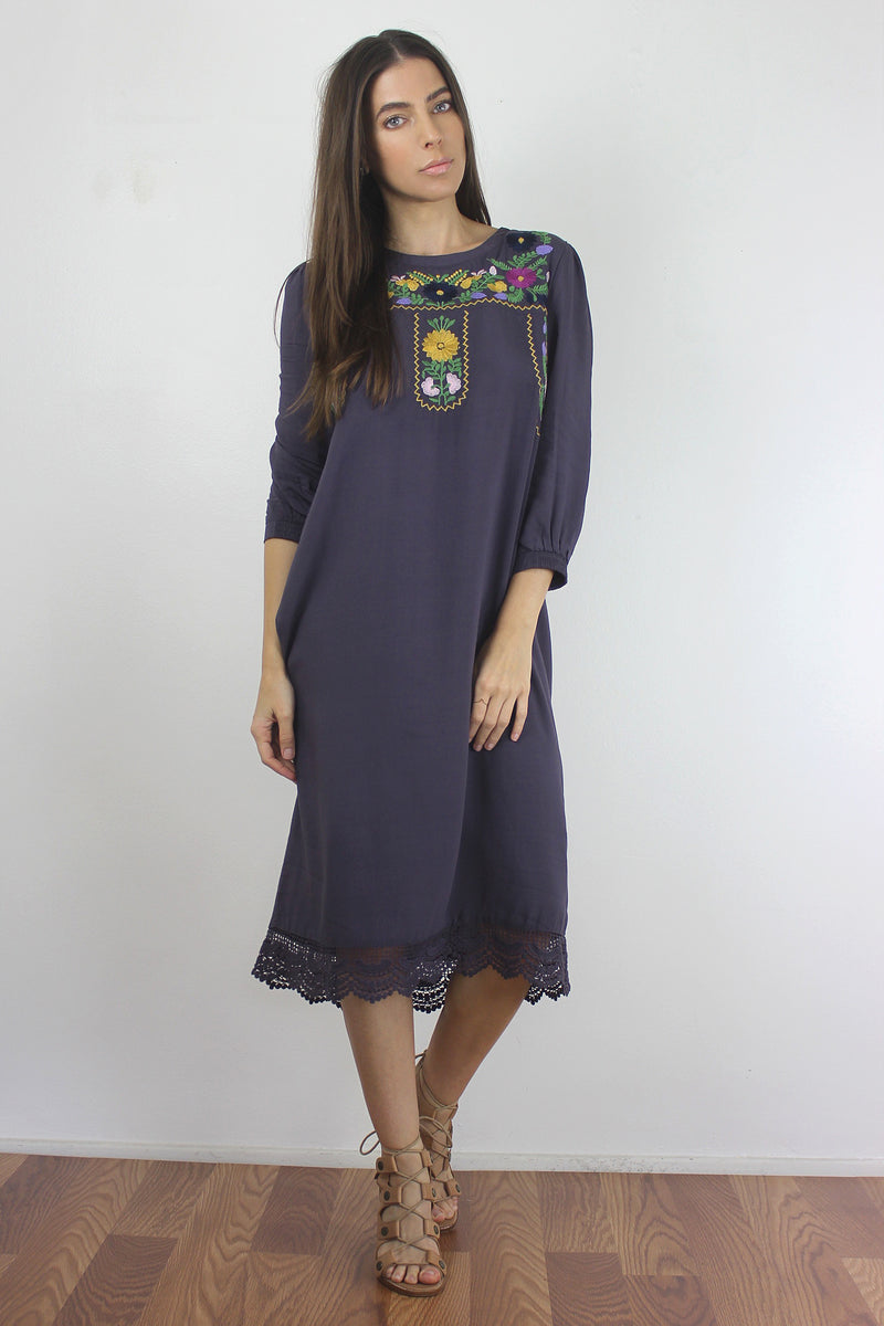 Floral embroidered midi dress in Dusty Black.