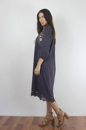 Floral embroidered midi dress in Dusty Black. Image 3