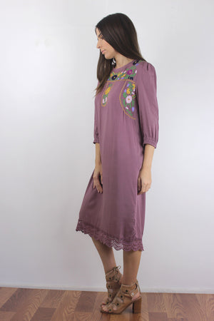 Floral embroidered midi dress in Mauve. Image 2