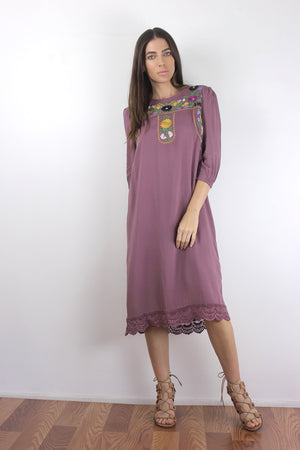 Floral embroidered midi dress in Mauve.