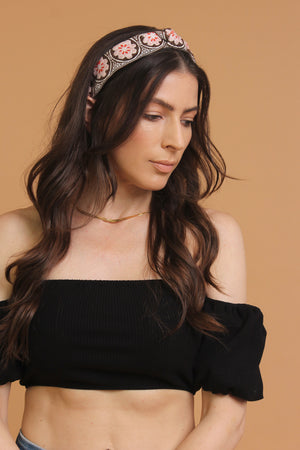 Floral embroidered knot top headband, in brown/pink. Image 3