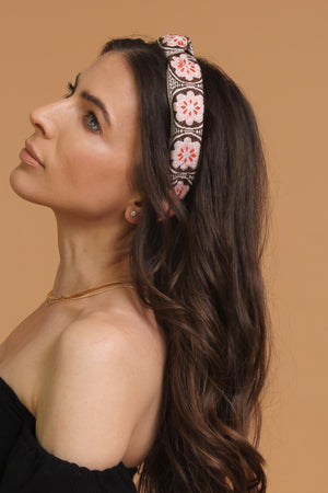Floral embroidered knot top headband, in brown/pink. Image 4