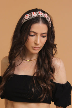 Floral embroidered knot top headband, in brown/pink. Image 5